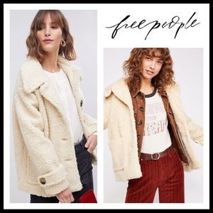 FREE PEOPLE FAUX SHEARLING FLEECE PEACOAT JACKET